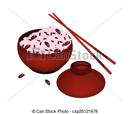 Rice Steamed With Red Beans In Donburi Or Japanese Bowl Served On