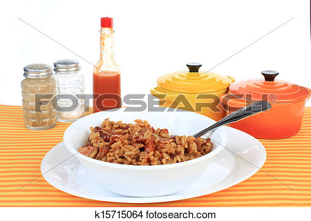 Stock Photo   Eating Red Beans And Rice  Fotosearch   Search Stock