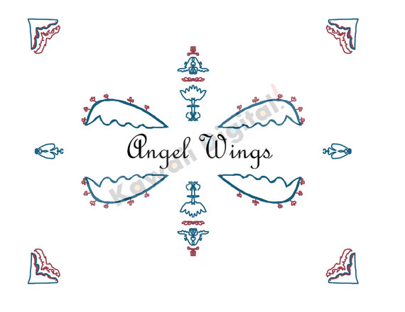 To Clip Art Symmetrical  Angel Wings Name Plate Border With Corners