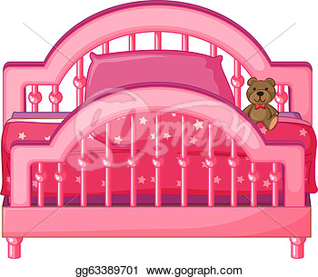 Art   Illustration Of A Bed Of A Child On A White Background  Clipart