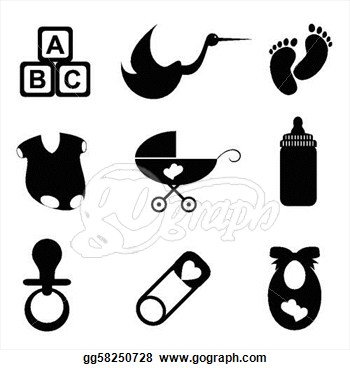 Black And White Baby Items Clip Art