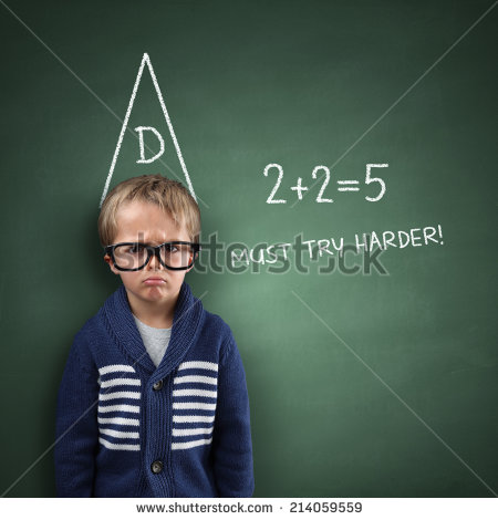 Blackboard With Incorrect Sums And Must Try Harder Note   Stock Photo