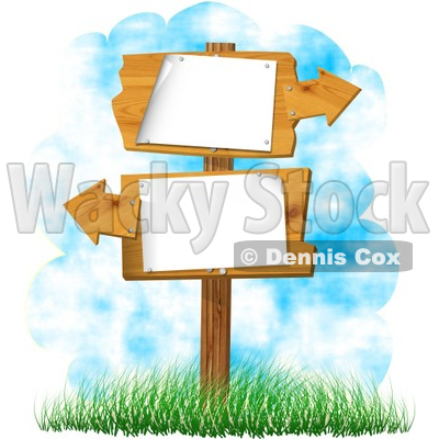 Blank Sign With Arrows Pointing In Opposite Directions Clipart