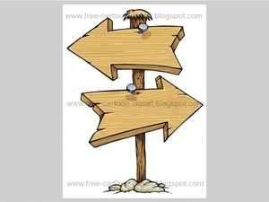 Cartoon Wood Arrow Sign Two Directions Clipart   Shoplocket