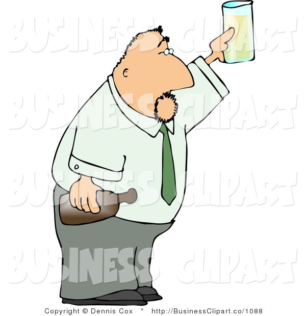 Clip Art Of A Businessman Toasting With A Glass And Bottle Of Beer By