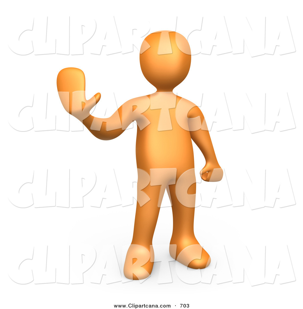 Clip Art Of A Friendly Orange Person Holding Their Hand Out And