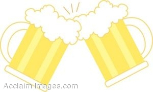 Clip Art Of Two Mugs Of Beer Clinking Together In A Toast  Clipart