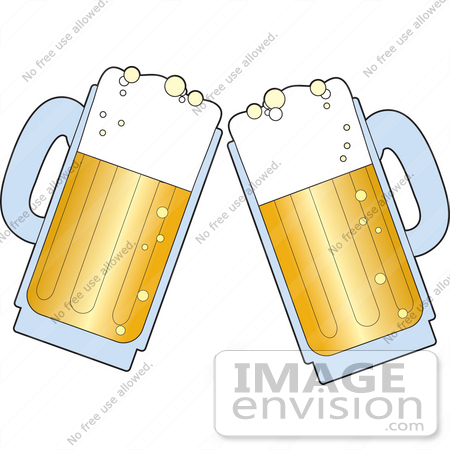 Clipart Of A Pair Of Beer Mugs With Froth Preparing To Toast    33432