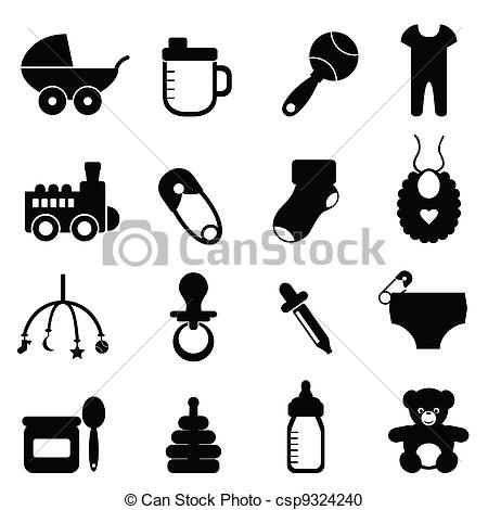 Clipart Of Baby Icon Set In Black   Baby Objects Icon Set In Black