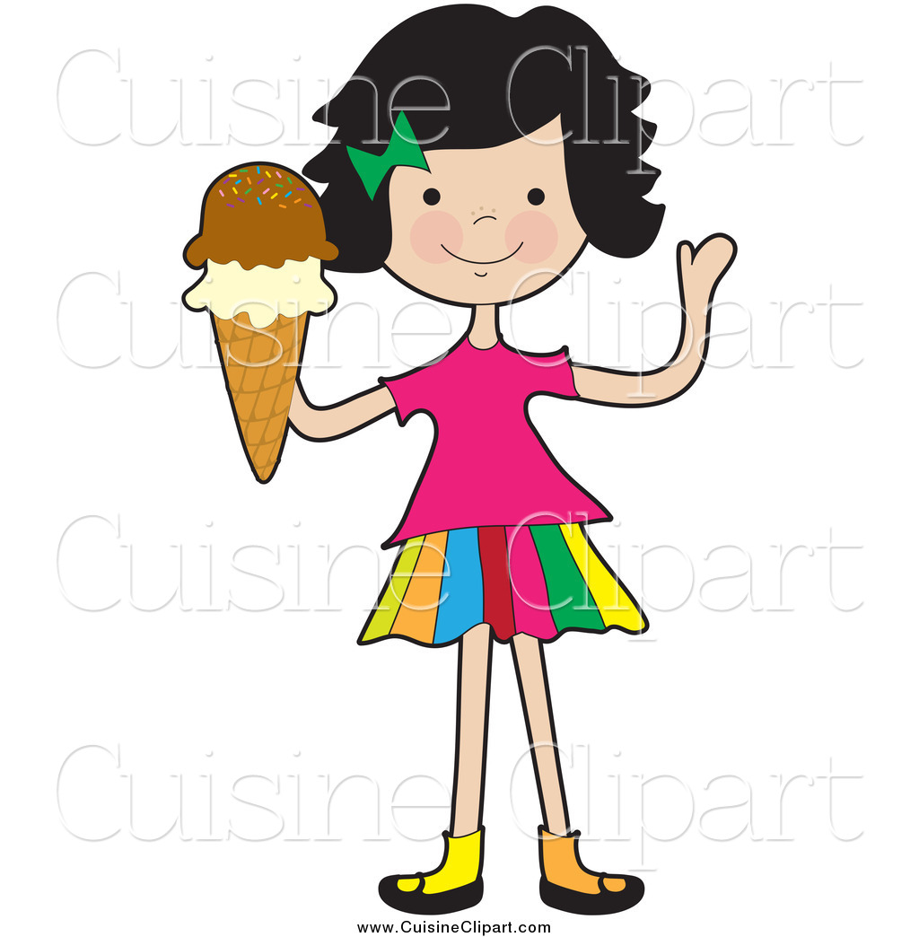 Friendly Clipart Cuisine Clipart Of A Friendly Girl Waving And Holding