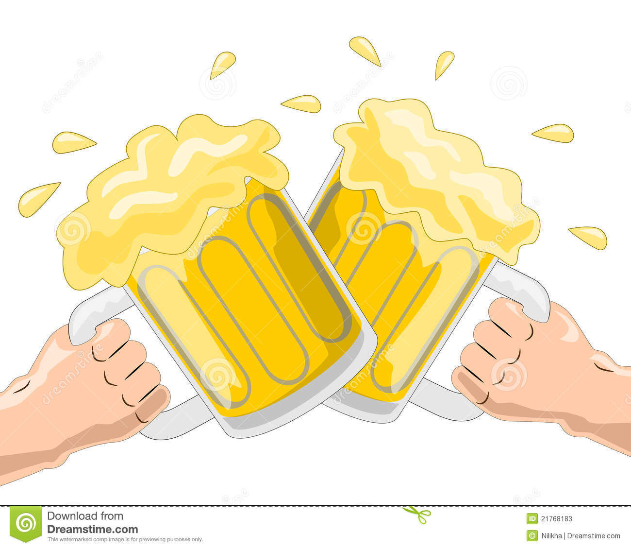 Illustration Of Two Hands Holding Beer Mugs And Having A Toast
