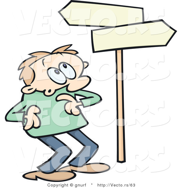 Of A Confused Cartoon Man Looking At Blank Street Signs Pointing