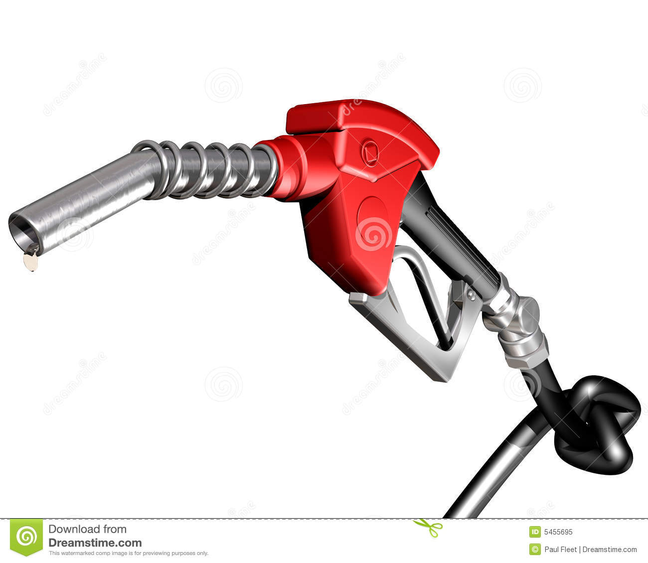 Of A Dripping Gasoline Pump Nozzle And Hose With A Knot Tied In It