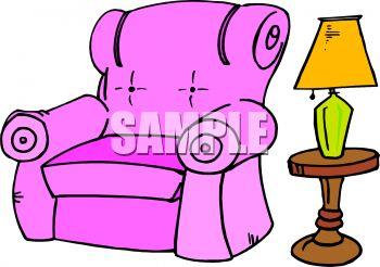 Pink Upholstered Chair And Lamp   Royalty Free Clip Art Illustration