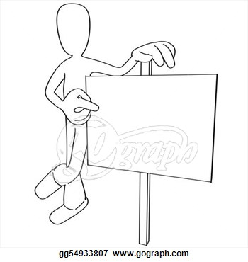 Stock Illustration   Cartoon Person Pointing At Sign  Clipart