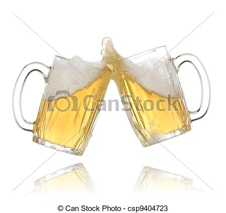 Stock Photo   Pair Of Beer Glasses Making A Toast  Beer Splash   Stock