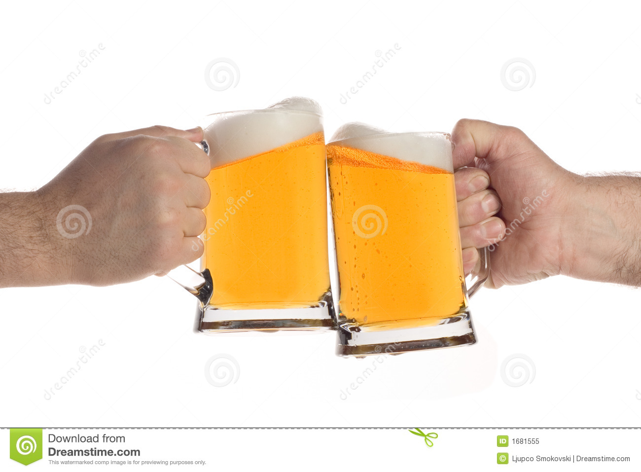Two People Making A Toast With Beer Mugs Royalty Free Stock Photo