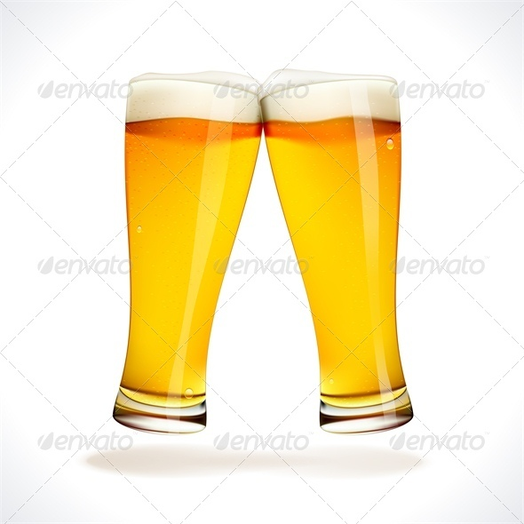 Vector Beer Splashing Two Glasses Isolated On White  Eps10 Opacity