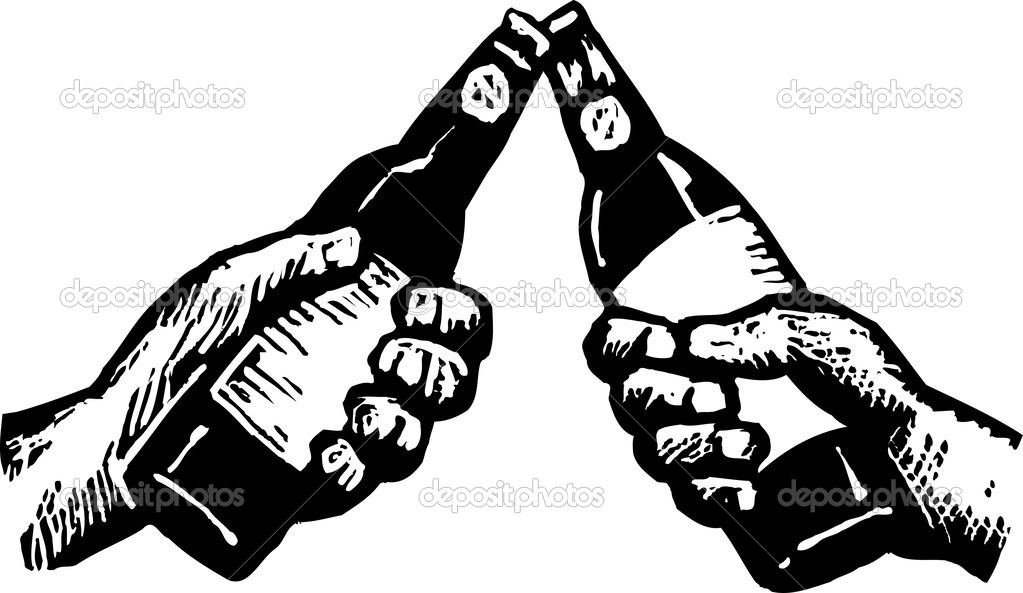 Woodcut Illustration Of Two Hands Toasting With Beer   Stock Vector