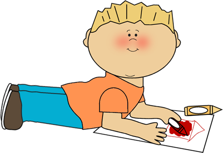 Boy Coloring Clip Art Image   Boy Laying On The Floor Coloring A