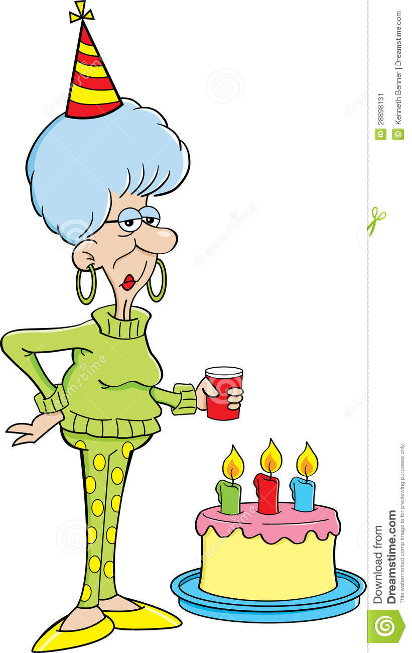 Cartoon Elderly Women With A Birthday Cake Stock Image   Image