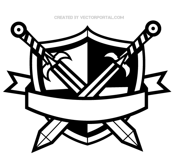 Heraldic Shield With Cross Swords And Banner Clip Art   123freevectors