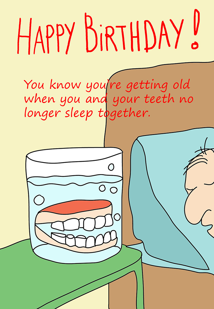Printable Birthday Cards Happy Birthday Card Man With Teeth In Glas