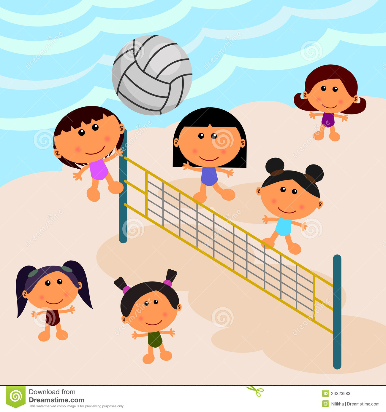 Scene Composed Of A Group Of Cute Cartoon Kids Playing Volleyball