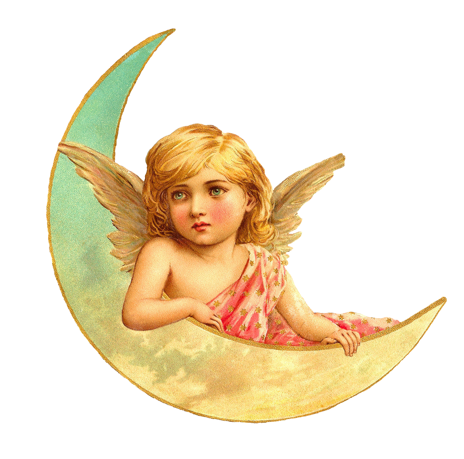 Antique Images  Free Angel Clip Art  Beautiful Angel With Crescent