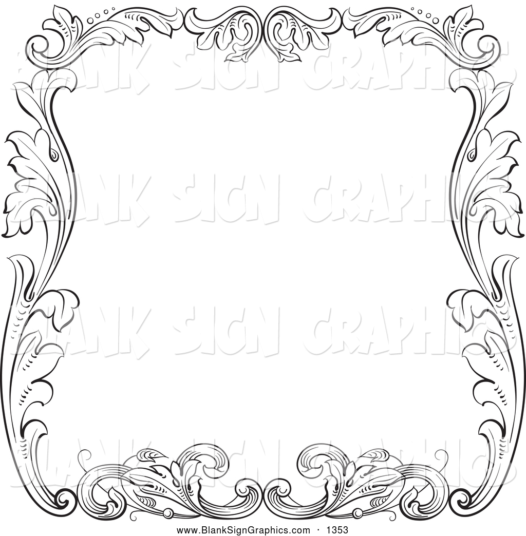 Black And White Floral Leaf Border Around White Thick Black And White