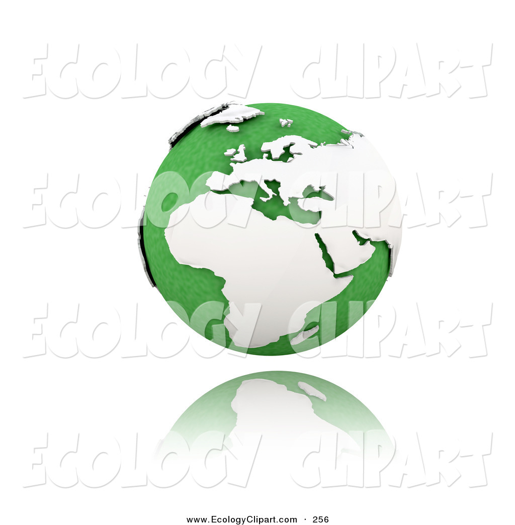 Clip Art Of A Cute Green Globe Of Planet Earth With White Continents