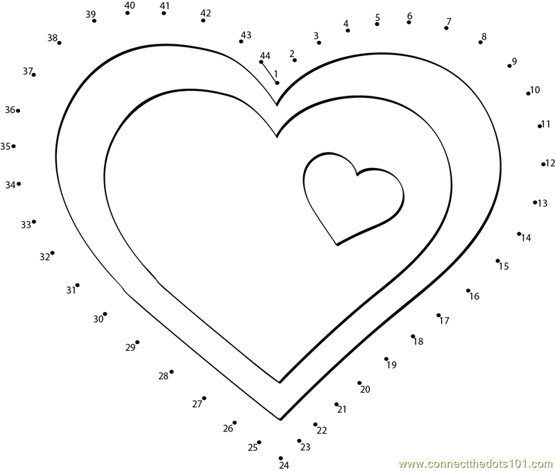 Connect The Dots Valentine Hearts Clip Art Worksheet Dot To Dots Page