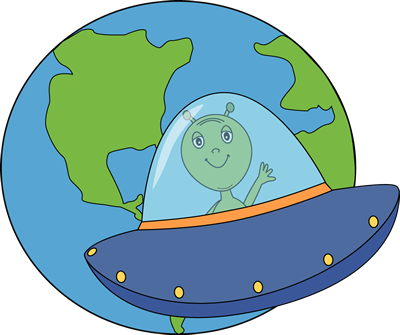 Earth Clip Art Image   Green Alien Flying A Ufo Around Planet Earth