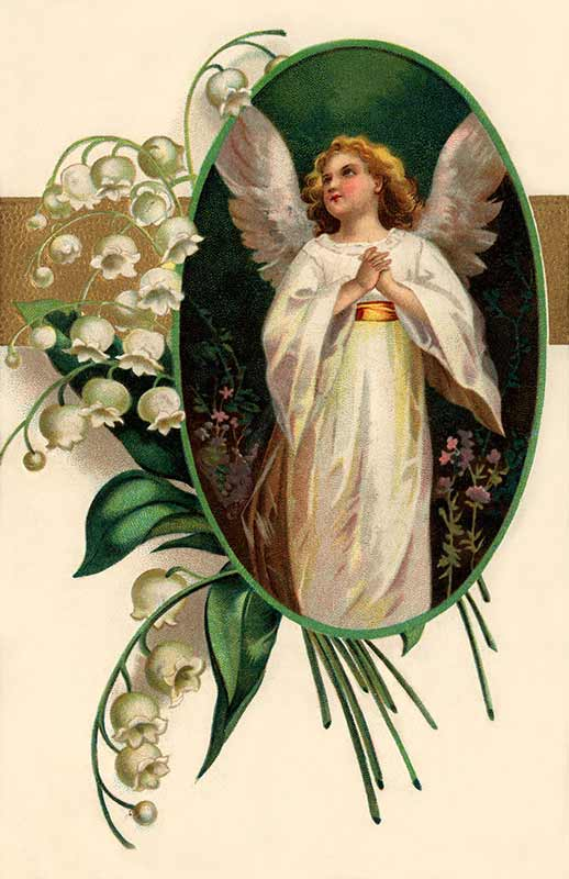 Easter Angel Surrounded By Lily Of The Valley Flowers   A Victorian