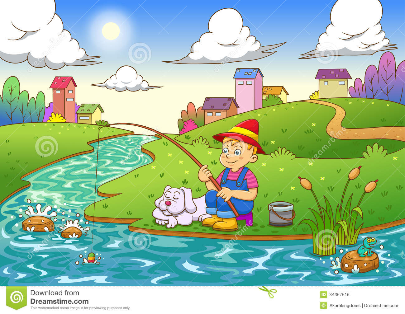Fishing Boy  Eps10 File Simple Gradients Simple Transparencies All In
