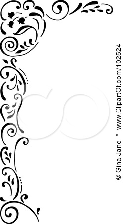 Free Rf Clipart Illustration Of A Black And White Tulip Corner Border