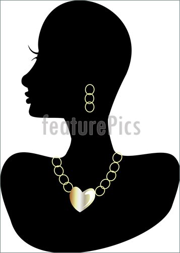 Illustration Of Black Silhouette Head With Gem Stone Heart Statement
