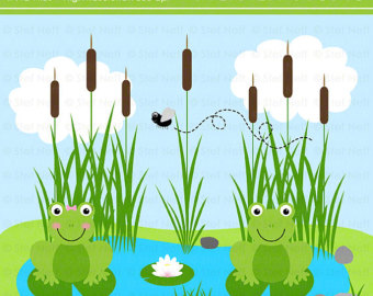 Instant Download   Froggie Pond Clip Art Set   Personal And Commercial