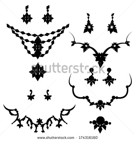 Jewelry Silhouettes  Necklace Earrings Brooch   Stock Vector