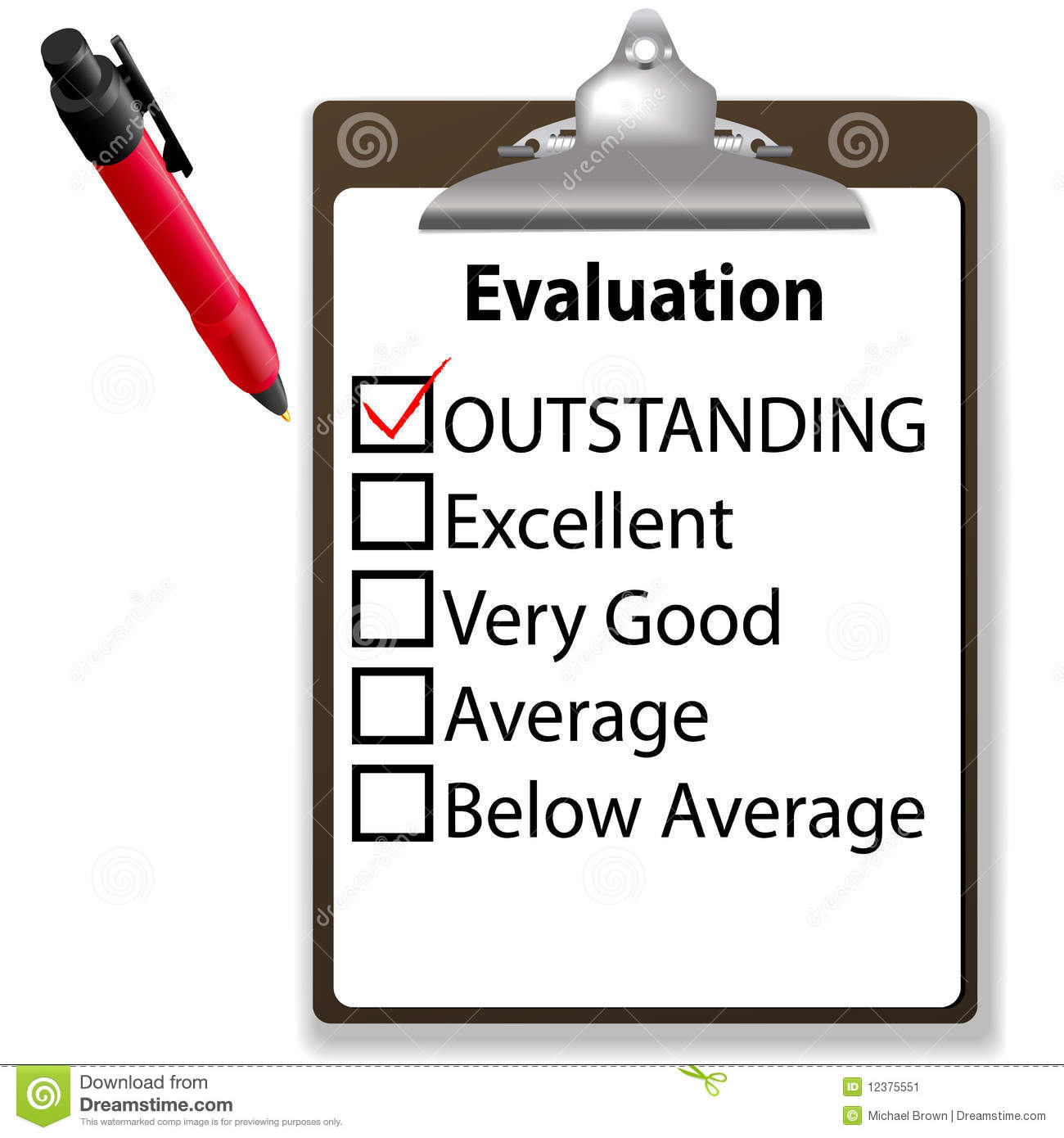 Outstanding Job Evalution Clipboard Check Mark Pen Stock Image   Image