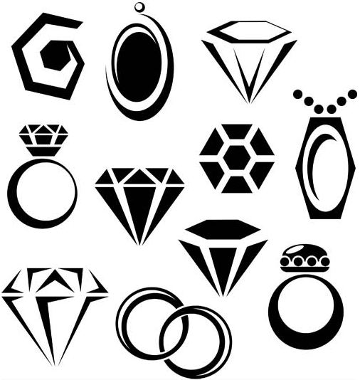 Silhouettes Jewelry Icons Icons Vector Free Download