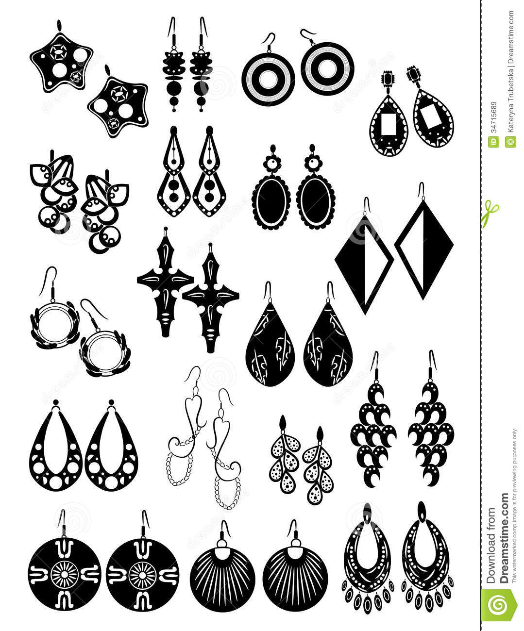 Silhouettes Of Earrings Royalty Free Stock Images   Image  34715689