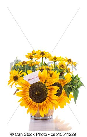 Stock Photo   Bouquet Of Sunflowers And Gratitude   Stock Image