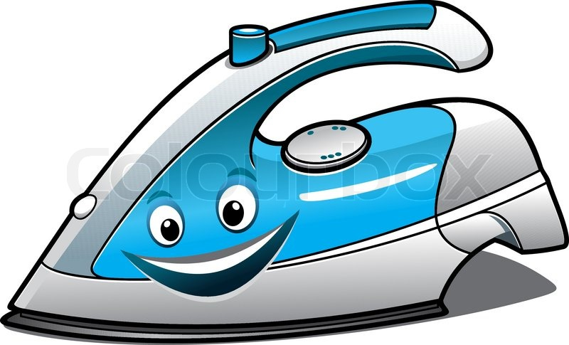 Stock Vector Of  Cheerful Cartoon Electric Iron With A Blue Water Tank