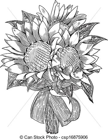 Vector   Sunflower Wedding Bouquet   Stock Illustration Royalty Free