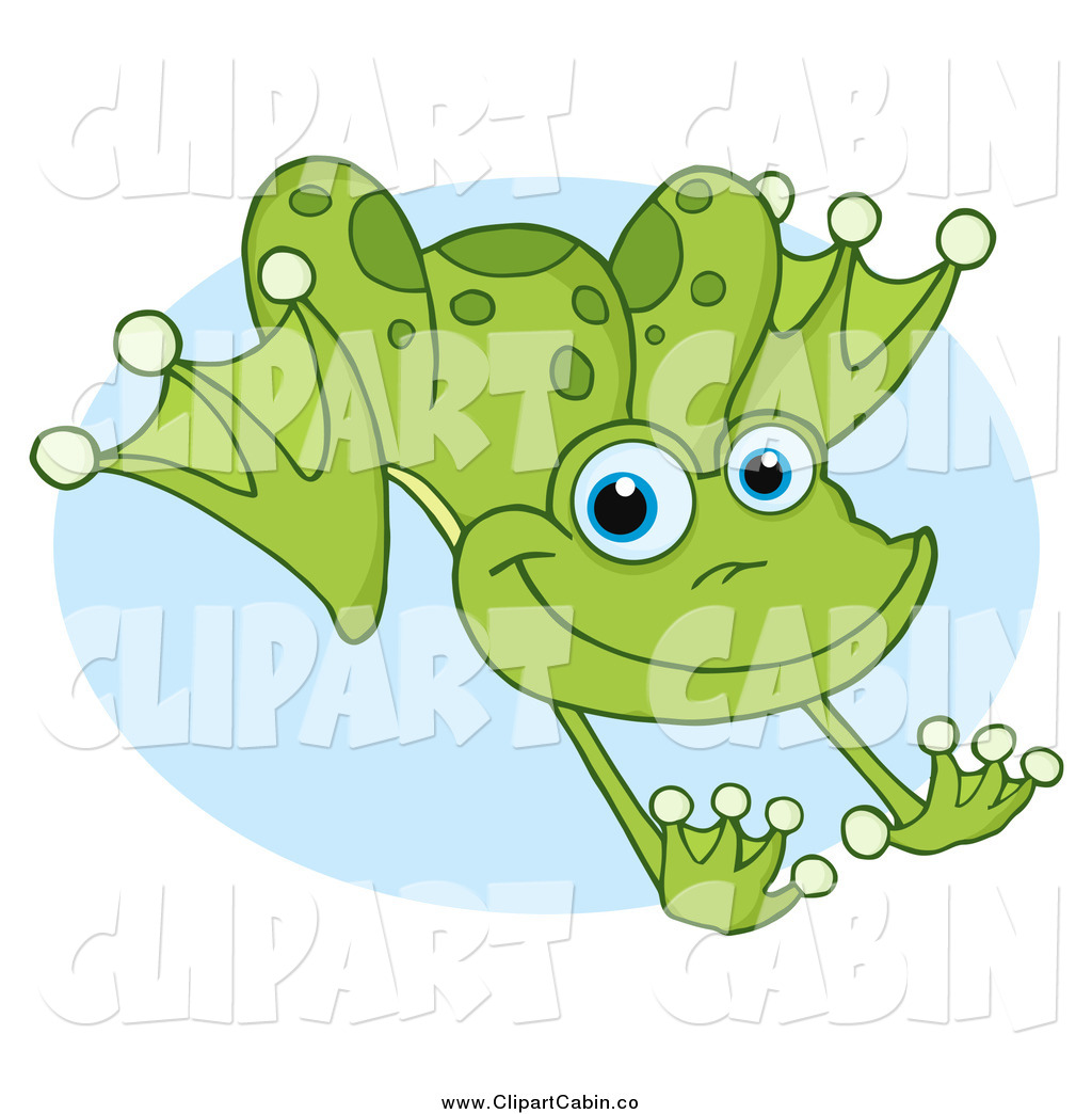 Clip Art Vector Of A Green Leaping Frog Over Blue By Hit Toon 21957