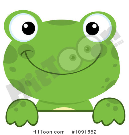 Frog Clipart  1091852  Green Frog Looking Over A Surface By Hit Toon
