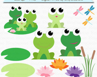 Frog Family Digital Art Set Clipart By Bitsycreations Commercial Use