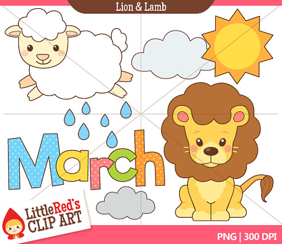 Lion And Lamb March Clip Art And Digital Stamps   Personal And