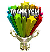 Thank You Trophy Recognition Appreciation Of Job Efforts   Stock Photo